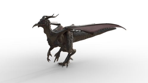 (4K) Mountain Dragon Walking Front Quarter Effect