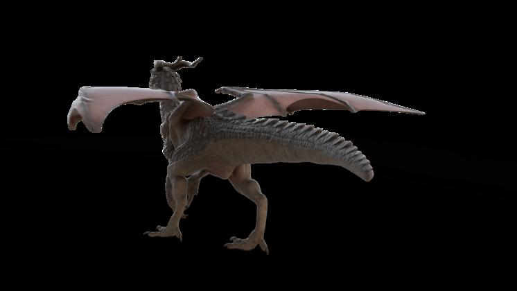 (4K) Mountain Dragon Walking Rear Quarter Effect