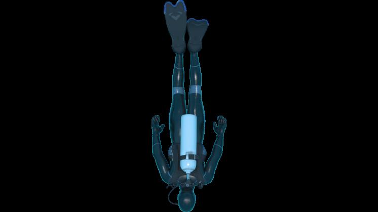 (4K) Looping Scuba Diver Top View 2 Effect