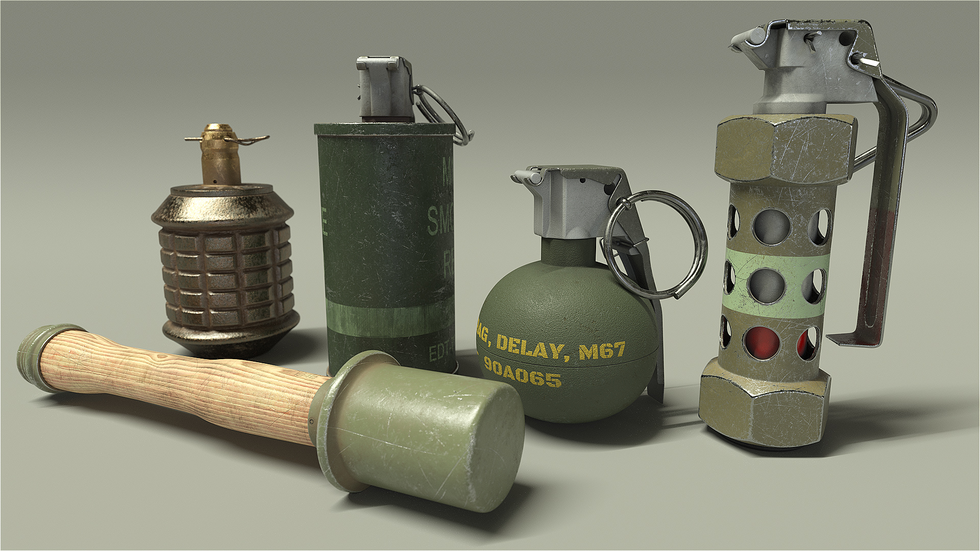 3D Model: Type 97 Grenade HD Render 1