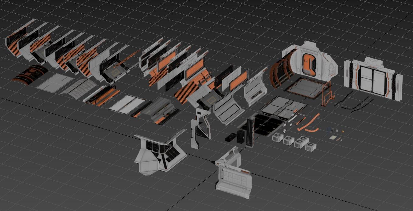 3D Model: Modular Space Corridors HD Render 1