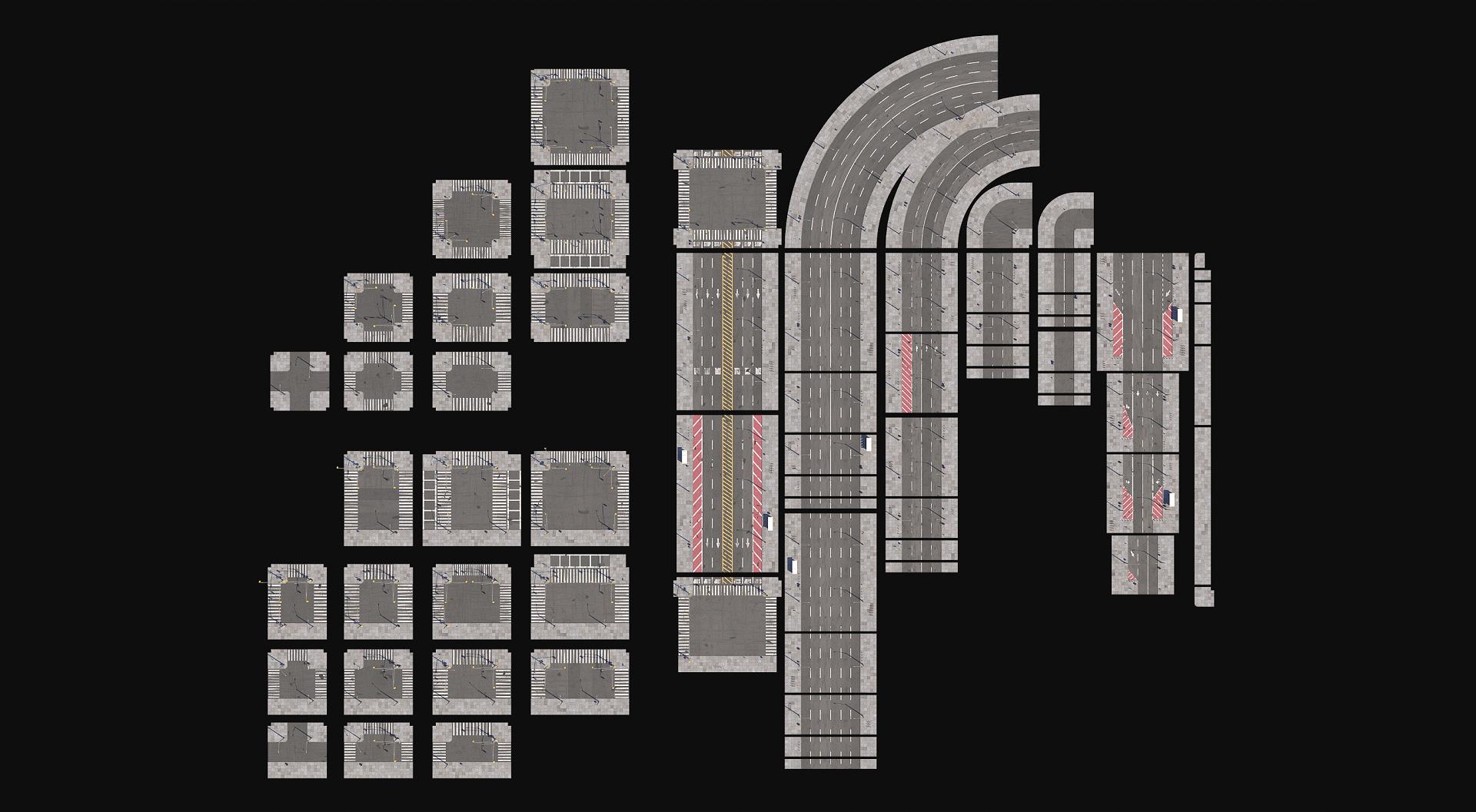 Download 3D City Road Tiles 3D Models